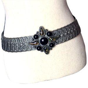 Silver stretchy black medallion belt
